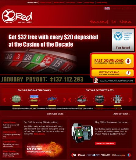 Play Online Slot Games at 32 Red Casino