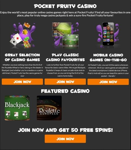 Pocket Fruity Casino at Yor Mobile